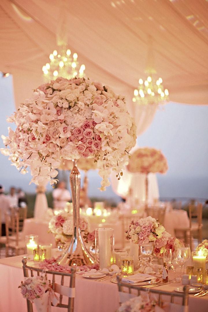 Как украсить зал на свадьбу, оформление свадебного зала живыми цветами - 3